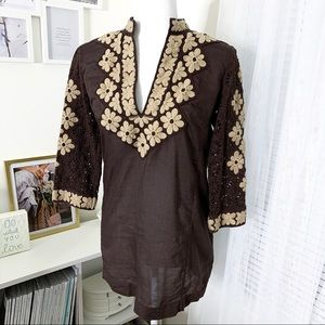 Tory Burch Brown Embroidered Tunic Top Women's 6